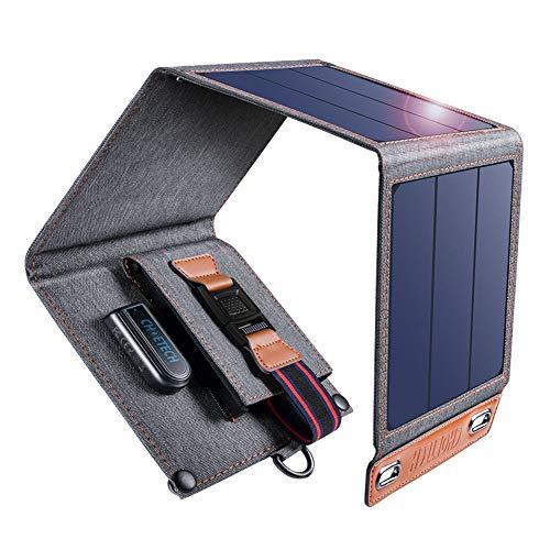 CHOETECH Solar Ladegerät, 14W Solarpanel Tragbares Leichtgewicht Outdoor Kompatibel mit Allen Handys, iPad, Kamera, Tablet, Bluetooth Lautsprecher usw.