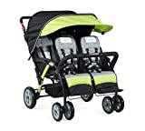 Foundations Quad Sport 4-Passenger Folding Stroller with Canopy, 5-Point Harness, Foot-Brake (Lime)