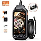 1080P Dual-Lens Borescope, DEPSTECH Endoscope with 4.5in IPS Screen, HD Inspection Camera with 6 Adjustable LED Lights, 3300mAh Battery, 16GB TFCard, Snake Cable Camera(16.5ft)