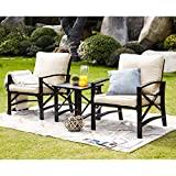 LOKATSE HOME 3 Piece Patio Conversation Set Outdoor Furniture with Coffee Table, Chair, Khaki