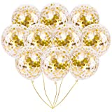 Gold Foil Confetti Balloons | Vibrant Confetti Pre-Filled | Wedding Engagement Birthday Party Events (16 Pack Gold, 12 Inches)