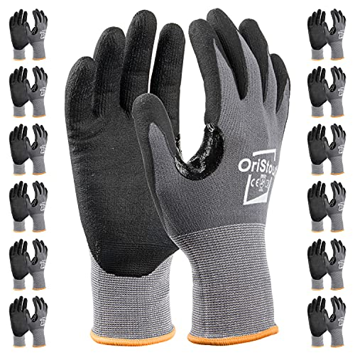 OriStout Safety Work Gloves Pack, Touchscreen, Breathable Micro Foam Nitrile Coated Gloves with Grip for Warehouse, Automotive, Construction, Gardening,Retail Large, 12 Pairs