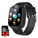 YENISEY Kids Smart Watch with SD Card Game Watch for Boys Girls Two-Way Call Music Player Camera for Kids Children Birthdaty Gift (Black)