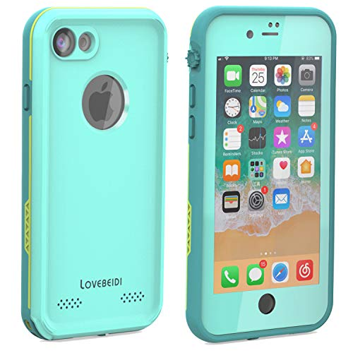LOVE BEIDI iPhone 8 7 Waterproof Case Cover Built-in Screen Protector Fully Sealed Life Shockproof Snowproof Underwater Protective Cases for iPhone 8 7-4.7' (Cyan/Green/Mint Green)