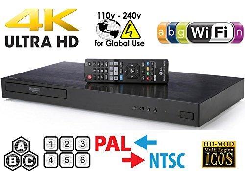 LG 4K Region Free Smart WiFi UHD 4K Ultra HD Blu-ray & DVD Player Multi Region 3D Dolby Vision HDR & 6Ft Dynastar HDMI Cable Bundle Model UBKM9