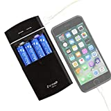 Enevolt USB Battery Charger for AA AAA Rechargeable Batteries and Battery Operated Portable Power Bank - 2in1 Gosy Black