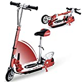 Overwhelming Upgrade E120 Adjustable Handlebar Height and Seat Folding Electric Scooter with Removable Seat for Kids,177lbs Max Weight Capacity No Kick to Start Motorized Scooters, up to 10 mph-Red