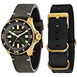 Watches - Diving - Analogue display - Green leather strap - Green dial - Case size 42 mm - Supplied in Spinnaker Brand packaging. Automatic. Pin buckle. 20 ATM/200 metres. For men.