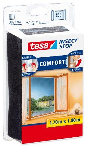 Tesa 55915-00021-00 Zanzariera per Finestra, qualità Comfort, 1,70 x 1,80 m, Antracite