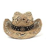 100% Natural Straw Cowboy Hat Women Men Handmade Weave Cowboy Hats for Lady Tassel Summer Western Hats