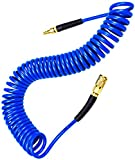 YOTOO Polyurethane Recoil Air Hose 1/4' Inner Diameter by 25' Long with Bend Restrictor, 1/4' Industrial Quick Coupler and Plug, Blue