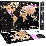 Carte du Monde à gratter + Carte à gratter de l'Europe en Bonus - Carte détaillée en aquarelle...