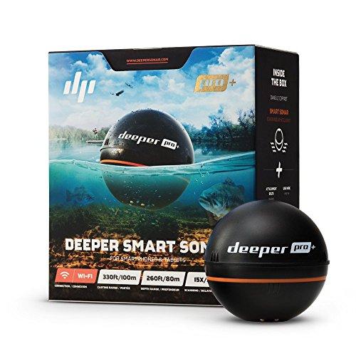 Deeper Sonar Wi-Fi + GPS Fishfinder Pro+, Ecoscandaglio Portatile per Smartphone Iphone/Android E Tablet Ipad/Android - Rilevazione Profondit Fino a 80 Metri, Nero