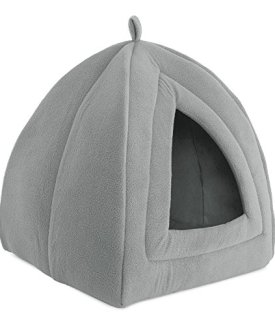 PETMAKER Cat Pet Bed, Igloo- Soft Indoor Enclosed Covered Tent/House for Cats, Kittens, and Small Pets with Removable Cushion Pad (Grey)