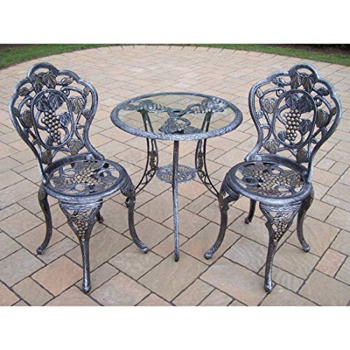 Oakland Living Corporation Napa Valley 3-Piece Bistro Set with Tempered Glass Table and 2 Chairs