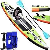 Tabla Hinchable Paddle Surf Sup Paddel Surf Bomba, Asiento de Kayak, 330 x 76 x 15 cm, Hasta 130 kg,...