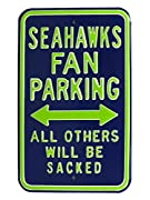 HEAVY DUTY STEEL – Solid 18-gauge steel construction makes this Seattle Seahawks reserved parking sign durable and longer lasting INDOOR / OUTDOOR USE– With a superior powder coat finish, these football gifts go anywhere - garage signs, yard decor, m...