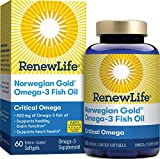 Renew Life Norwegian Gold Adult Fish Oil - Critical Omega, Fish Oil Omega-3 Supplement - Gluten & Dairy Free - 60 Burp-Free Softgel Capsules (Packaging May Vary)