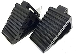 "MaxxHaul 2 pack 70472 Solid Rubber Heavy Duty Black Wheel Chock, 8"" Long x 4"".."