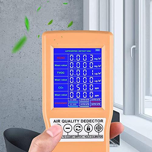 4AYNG Detector de calidad del aire de mano, formaldehído TVOC HCHO Monitor de gas CO2, analizador de aire digital portátil Sensor de polvo Dispositivo de detección de contaminación del aire