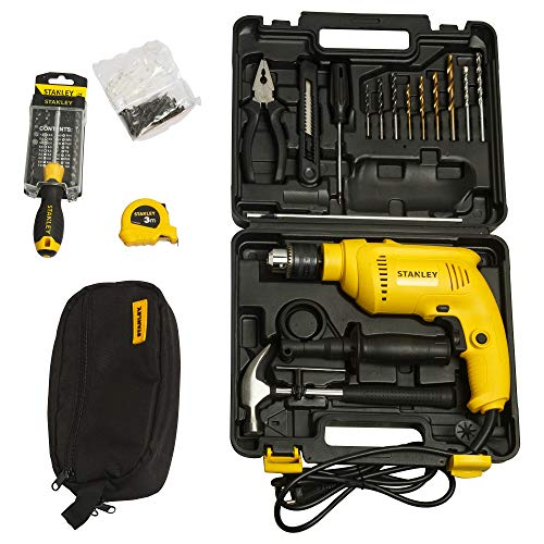 STANLEY SDH600KV 13mm 600Watt Hammer Drill and Hand Tools Kit for Home, DIY and Professional use -...