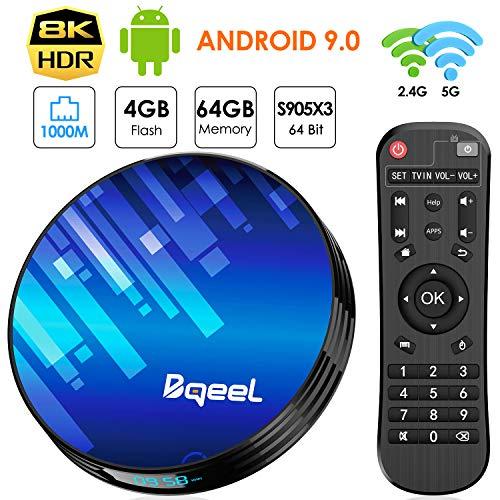 Bqeel Android TV Box Smart TV Box Y8 MAX【4GB+64GB】/Amlogic S905X3 64-bit Quad core/ unterstützt 4K/8K /H.265/ WLAN 1000M/ WiFi 2.4G/5G/ USB3.0 Android 9.0 TV Box