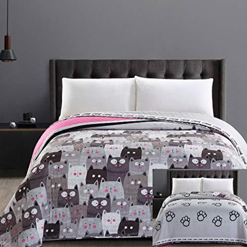 DecoKing 32343 Tagesdecke 200x220 cm Mikrofaser Bettüberwurf Steppung zweiseitig pflegeleicht grau Stahl anthrazit Grafit schwarz weiß rosa Katzen Cats\' Invasion