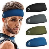 Vinsguir Mens Headband (4 Pack), Sports Headbands for Men, Workout Accessories, Sweat Band, Sweat Wicking Head Band Sweatbands for Running Gym Training Tennis Basketball Football, Unisex Hairband