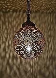 Suspension Marocaine orientale « Thram lampe » - Or - Diamètre : 26 cm -...