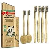 Brosse a Dent Bambou Paquet de 6 + 2 Porte Brosse à Dents, Zero...