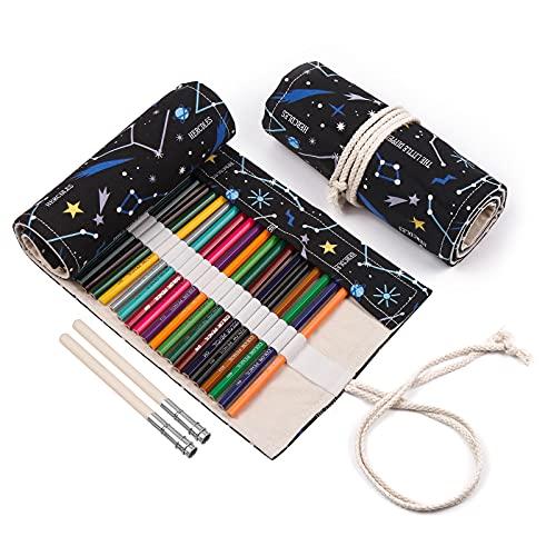 Rongxi astuccio tela 72 fori astuccio matite Custodia per matite sacchetto per matite Astuccio 2 estensori per matita,Conservazione per matite colorate per dipingere scrivere