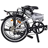 "Dahon Mariner D8(Limited Edition) Folding Bike, Lightweight Aluminium Frame 8-Speed Shimano Gears 20"" Foldable Bicycle for Adults, Silver"