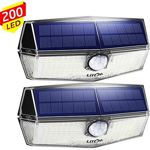 200 LED Solarlampen für außen【Neueste Version】LITOM Solarleuchten mit Bewegungsmelder,3 Modi,270°Beleuchtungswinkel,IP67 Wasserdicht,led solar außen,Solarlampe für Garage,Treppen,Hof,Einfahrt(2 Stück)