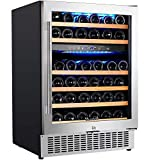 【Upgraded】Aobosi 24 Inch Dual Zone Wine Cooler 46 Bottle Freestanding and Built in Wine...