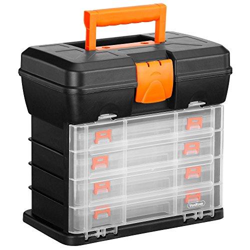VonHaus Cassetta Porta Attrezzi Organizer Con 4 Cassetti Trasparenti E Divisori Regolabili  Nero  Ideale Per Lavoretti O Hobby