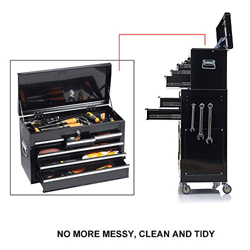 Product Image 6: 8-Drawer Tool Chest Tool Box,High Capacity Rolling Tool Chest Tool Storage Cabinet with 4 Wheels, 2 in 1 Large <a href=