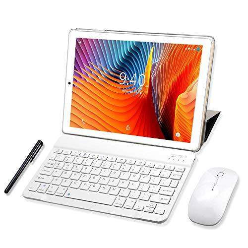YOTOPT Tablette Tactile 10 Pouces 4G LTE, Android 9.0 Certifié par Google GMS Tablette PC 64Go, 4Go de RAM, Bluetooth, GPS, WiFi, Type-c, avec Clavier(Or)