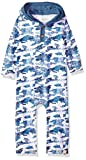 Burt's Bees Baby Baby Boys' Organic One-Piece Romper Coverall, Blue Star Distressed Camo, 6-9 Months