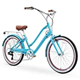 sixthreezero EVRYjourney Women's 26' 7-Speed Step-Through Touring Hybrid Bike w/Integrated Cable Lock, 26' Bicycle, Teal with Brown Seat and Brown Grips