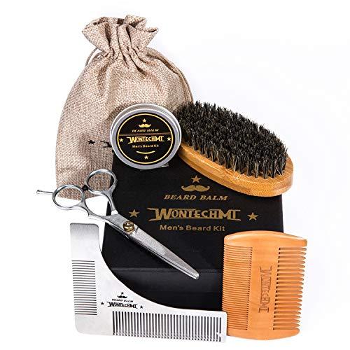Kit di prodotti per la cura della barba per uomo, spazzola per la barba, pettine per la barba WONTECHMI, spazzola con setola di cinghiale, balsamo cera per barba e baffi