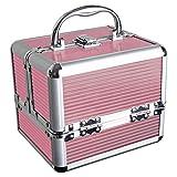 iGadgitz Home U7036 - Organizador de Maquillaje Viaje, Caja de Maquillaje, Maletín de Maquillaje - 4 x Bandejas Desplegables, Compartimento Inferior Grande y Asa de Transporte - Rosado - Pequeño