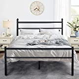 VECELO Metal Bed Frame Platform Mattress Foundation/Box Spring Replacement with Headboard & Footboard, Queen, Black