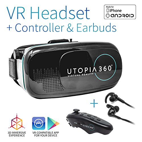 Utopia 360 VR Headset with Controller and Earbuds | 3D Virtual Reality Headset for Games, Movies, Apps - Compatible with iPhone and Android Smartphones (2018 Virtual Reality Headset Model)