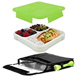 Smart Planet Ultrathin Lunchbook With Insulated Carrying Case, 24 oz, Green