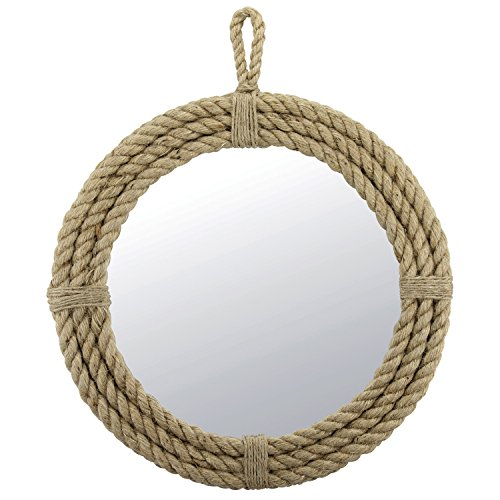 Stonebriar SB-5389A Small Round Wrapped Rope Mirror with Hanging...