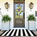 Ailsan Black and White Striped Outdoor Rug Doormat 35.4' x 59' Cotton Woven Indoor Area Rug Runner Farmhouse Layered Door Mats Small Washable Carpet Welcome Mat for Kitchen Bedroom Living Room