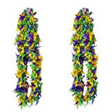 4E's Novelty Deluxe Mardi Gras Feather Boa Costume Accessory, Huge 72 Inches, Mardi Gras Party Decoration, Mardi Gras Party Supplies, Mardi Gras Party Favor, 2 Pack