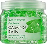 SMELLS BEGONE Odor Eliminator Gel Beads - Air Freshener - Eliminates Odor in Bathrooms, Cars, Boats, RVs and Pet Areas - Made with Essential Oils - Calming Rain Scent - 12 Ounce