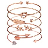 Softones 5pcs Bangle Rose Gold Bracelets for Women Girls Heart|Olive Leaf|Arrow|Feather|Knot Heart Open Cuff Bracelet Set Adjustable