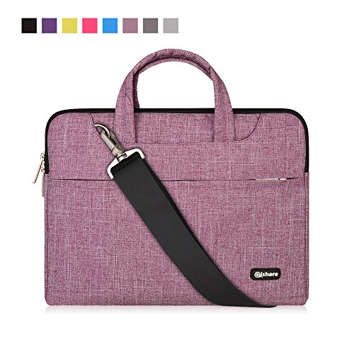 Qishare 13.3 14 inch Laptop Case Laptop Shoulder Bag, Multi-functional Notebook Sleeve Carrying Case With Strap for Samsung Acer Asus Lenovo Yoga Macbook pro 13 Ultrabook Chromebook(Purple Lines)